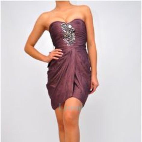 bebe Dresses & Skirts - BEBE Mirror & Shine Embellished Beaded Drape Dress